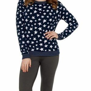 AnyBody Printed Hacci Sweatshirt Top Black Stars
